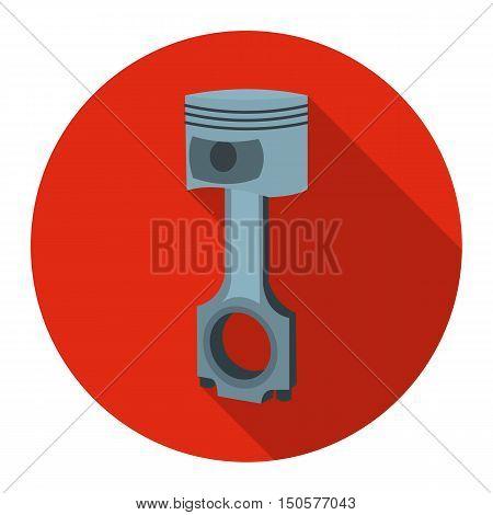 Piston icon flat style. Single silhouette auto parts icon from the big car flat - stock rastr