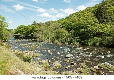 A rocky river in the Elan valley of Wales.