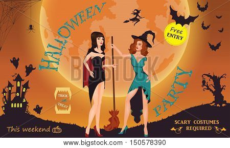 Halloween party. Witch, ghost, bat, moon, vampire and other items on Halloween theme. Halloween background Vector illustration