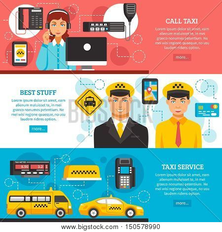 Three different colored taxi service banner set with descriptions of call taxi best stuff and taxi service vector illustration