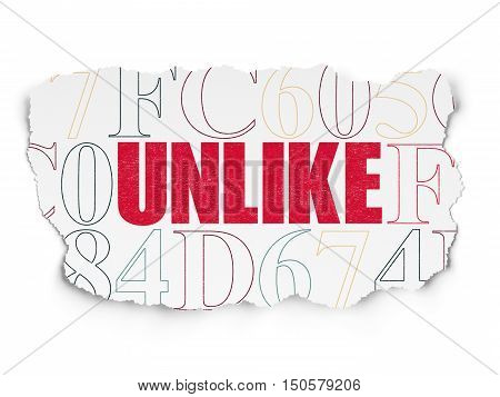 Social media concept: Painted red text Unlike on Torn Paper background with  Hexadecimal Code