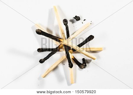 Match Stick Macro Detail Fire Symbol Safety White Isolated Background Charred Used Burned Burnt Blac