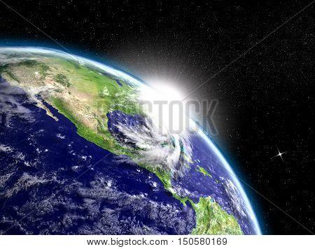 Sunrise In Orbit With Hurricane Matthew