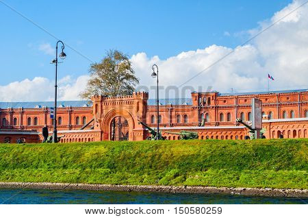 ST PETERSBURG RUSSIA - OCTOBER 32016. Military Historical Museum of Artillery Engineers and Signal Corps and military weapon exhibits in the open air in St Petersburg Russia
