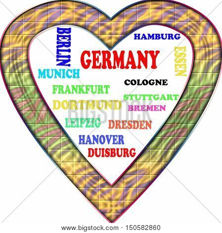 Germany in the Europe and Germany's cities as background, with form of the heart