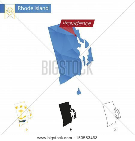 State Of Rhode Island Blue Low Poly Map With Capital Providence.