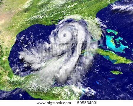 Huge Hurricane Matthew In Mexican Gulf