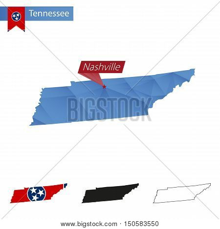 State Of Tennessee Blue Low Poly Map With Capital Nashville.