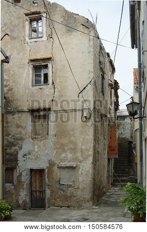 Senj Croatia -  old city. A small town in northern Croatia located on the Adriatic coast. The oldest parts of buildings in the old town come from the fifteenth century. poster