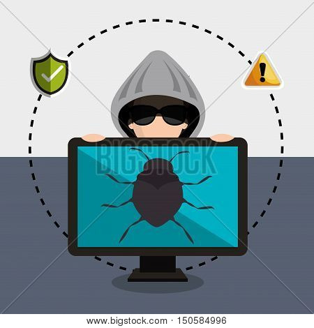 monitor computer and avatar man hacker with virus alert security system icon set. colorful design. vector illustration