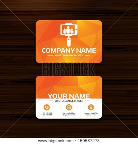 Business or visiting card template. Monopod selfie stick icon. Self portrait with group of people. Phone, globe and pointer icons. Vector