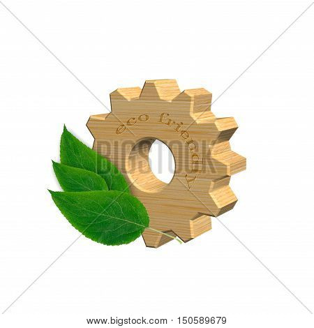 3D illustration, wooden gear with green leaves. Concept of ecofriendly products