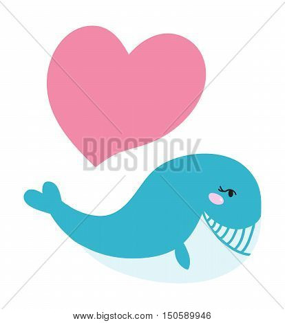 Cartoon cute and funny whales, sea animal, sea creatures vector illustration. Blue whale sea life humpback wildlife animal. Nature blue marine life whale sea ocean mammal character.