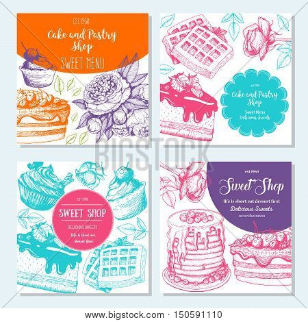 Sweet shop banner collection. Square banner set. Hand drawn cake pie ice cream and wafers. Engraved style illustration. Confectionery background. Linear graphic. Vintage design template.