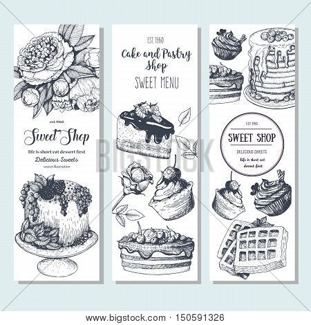 Sweet shop banner collection. Vertical banner set. Hand drawn cake pie ice cream and wafers. Engraved style illustration. Confectionery background. Linear graphic. Vintage design template.
