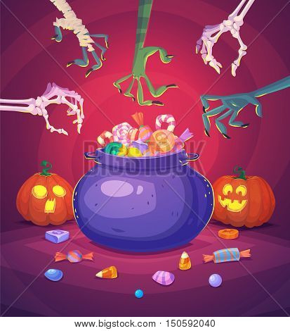 Trick or treat. Halloween poster background card. Vector illustration.