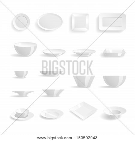 Empty white plates set isolated on the white background vector illustration. Plates templates dinner design blank clean tableware. Restaurant food plates templates kitchen utensil.