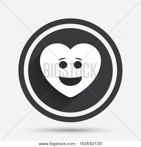 Smile heart face sign icon. Happy smiley with hairstyle chat symbol. Circle flat button with shadow and border. Vector