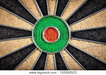 close up of darts board with bull's eye