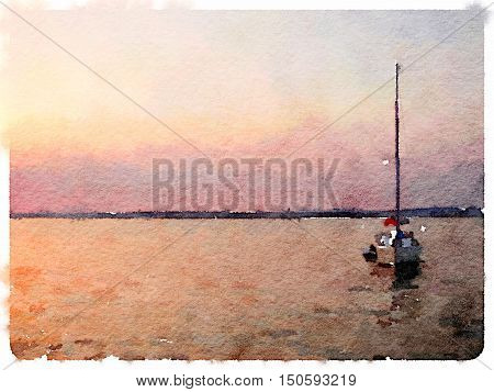 A digital watercolor painting of a sailing boat at anchor with sunset coloured sky and space for text.