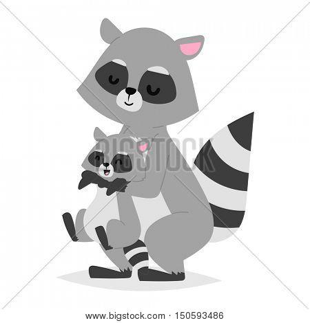 Funny raccoon vector illustration.