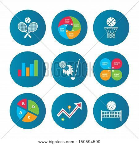 Business pie chart. Growth curve. Presentation buttons. Tennis rackets with ball. Basketball basket. Volleyball net with ball. Golf fireball sign. Sport icons. Data analysis. Vector