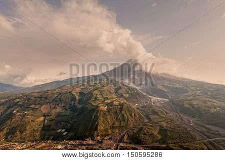 Tungurahua Volcano Powerful Eruption Large Quantity Of Ash Darkening The Blue Clear Sky Ecuador South America