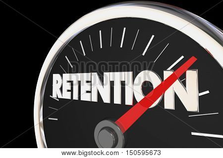 Retention Level Rising Improvement Speedometer 3d Illustration
