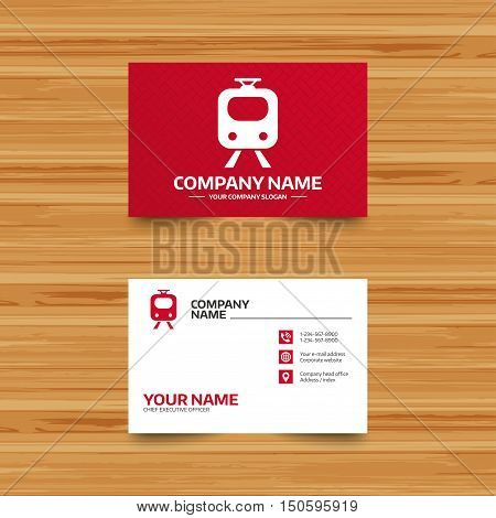 Business card template. Subway sign icon. Train, underground symbol. Phone, globe and pointer icons. Visiting card design. Vector