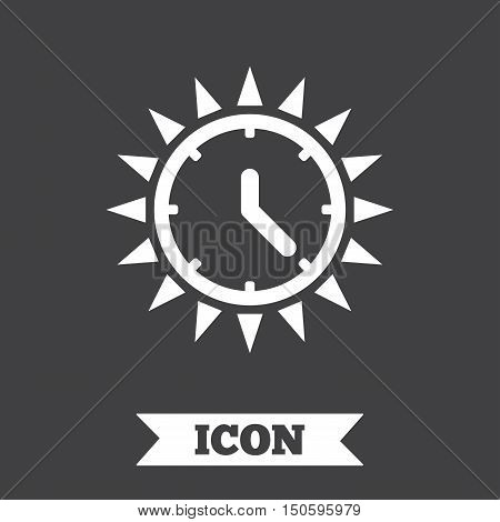 Summer time icon. Sunny day sign. Daylight saving time symbol. Graphic design element. Flat summer time symbol on dark background. Vector