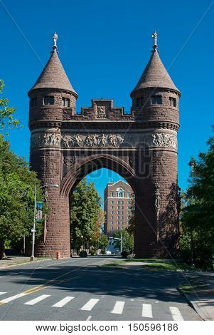 The Soldiers and Sailors Memorial Arch is a notable memorial to the American Civil War located in Hartford Connecticut. It was the first permanent triumphal arch in America and honors the 4000 Hartford citizens who served in the war and the 400 who died.