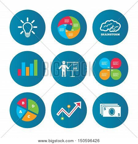 Business pie chart. Growth curve. Presentation buttons. Presentation billboard, brainstorm icons. Cash money and lamp idea signs. Man standing with pointer. Scheme and Diagram symbol. Data analysis