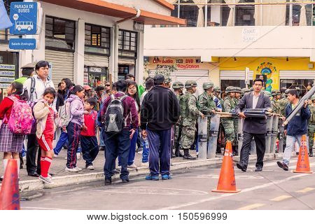 Banos De Agua Santa Ecuador - 23 June 2016: Enthusiasts Supporters Waiting For Ecuadorian President Rafael Correa To Visit Banos De Agua Santa Ecuador South America