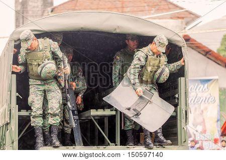 Banos De Agua Santa Ecuador - 23 June 2016: Ecuadorian Force Ground Welcoming To The President Of The Ecuador In Banos De Agua Santa Ecuador South America