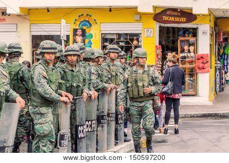 Banos De Agua Santa Ecuador - 23 June 2016: Force Ground Welcoming To The President Of The Ecuador Rafael Correa In Banos De Agua Santa Ecuador South America