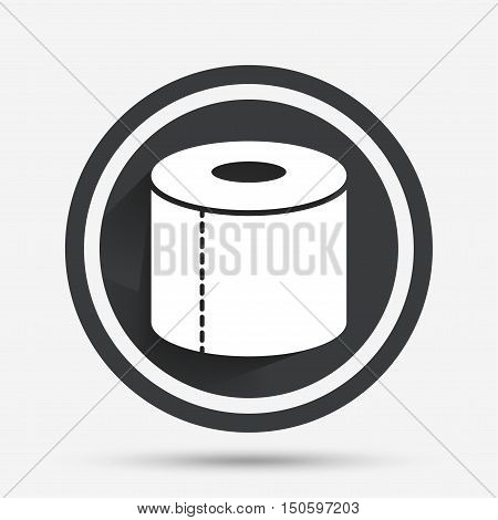Toilet paper sign icon. WC roll symbol. Circle flat button with shadow and border. Vector