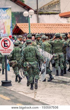 Banos De Agua Santa Ecuador - 23 June 2016: Army Of Ecuador Organize The Welcoming For The President Rafael Correa Ecuador South America