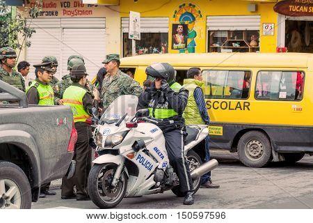Banos De Agua Santa Ecuador - 23 June 2016: Police Of Ecuador Organize The Welcoming For The President Rafael Correa Delgado In Banos De Agua Santa Ecuador South America