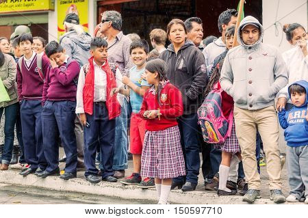 Banos De Agua Santa Ecuador - 23 June 2016: Group Of Kids Waiting For The President Rafael Correa Delgado In Banos De Agua Santa Ecuador South America