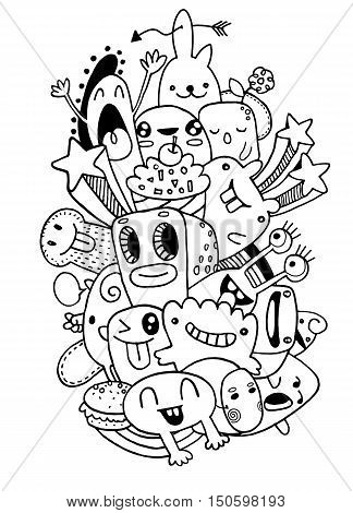 Vector Illustration Of Monsters And Cute Alien Friendly