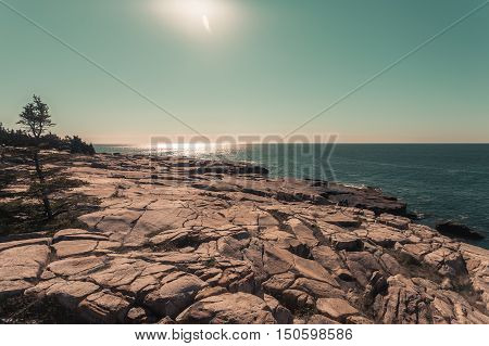 Toned imaged of the Schoodic Peninsula along the Maine Coast.