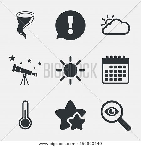 Weather icons. Cloud and sun signs. Storm symbol. Thermometer temperature sign. Attention, investigate and stars icons. Telescope and calendar signs. Vector