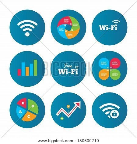Business pie chart. Growth curve. Presentation buttons. Free Wifi Wireless Network icons. Wi-fi zone locked symbols. Password protected Wi-fi sign. Data analysis. Vector