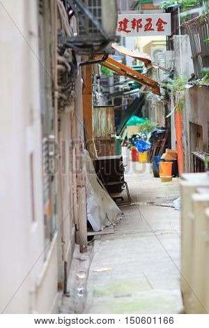 the Empty backstreet in hong kong wan chai