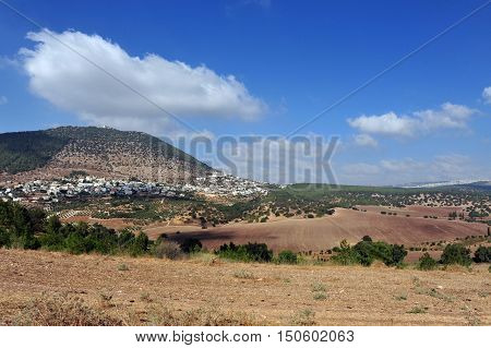 View of Izrael Valley under Mount Tabor that located in Lower Galilee at the eastern end of the Iezreel Valley Israel.