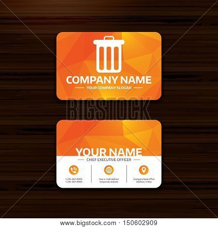 Business or visiting card template. Recycle bin sign icon. Bin symbol. Phone, globe and pointer icons. Vector