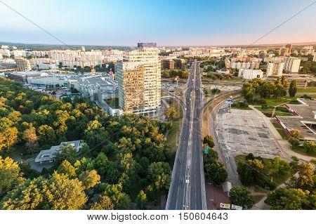 Modern buildings in Bratislava city in Slovak republic. Architectural theme. Travel destination. Beautiful place. Real estate theme.