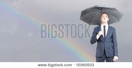 Worried business man on a rainy day poster