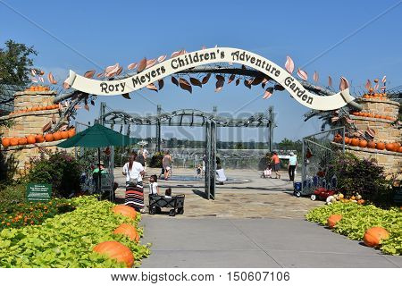 DALLAS, TX - SEP 17: The Rory Meyers Children's Adventure Garden at the Dallas Arboretum and Botanical Garden in Texas, as seen on Sep 17, 2016. It was designed to connect children with nature.
