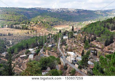 Aerial landscape of Ein Karem Jerusalem Israel.